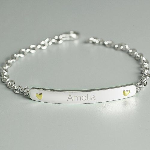 Sterling Silver and 9ct Gold Bar Bracelet